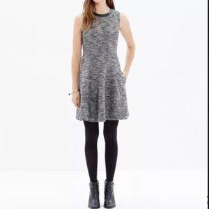 Madewell Dress Black Tweed Fit Flare Sleeveless